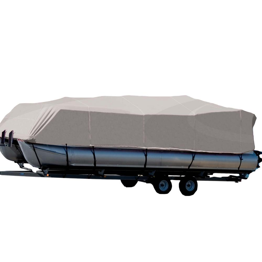Carver Covers Styled-To-Fit Cover for Pontoons with Partially Enclosed Deck  and Bimini Top Centerline: 18 ft  6 in