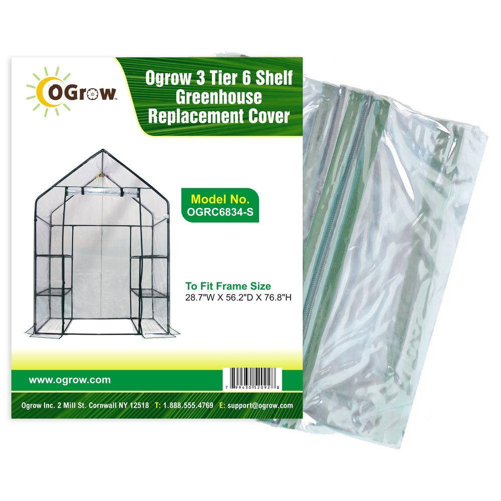 Ogrow 28.7 in. W x 56.2 in. D x 76.8 in. H 3-Tier 6 Shelf Greenhouse Replacement Cover