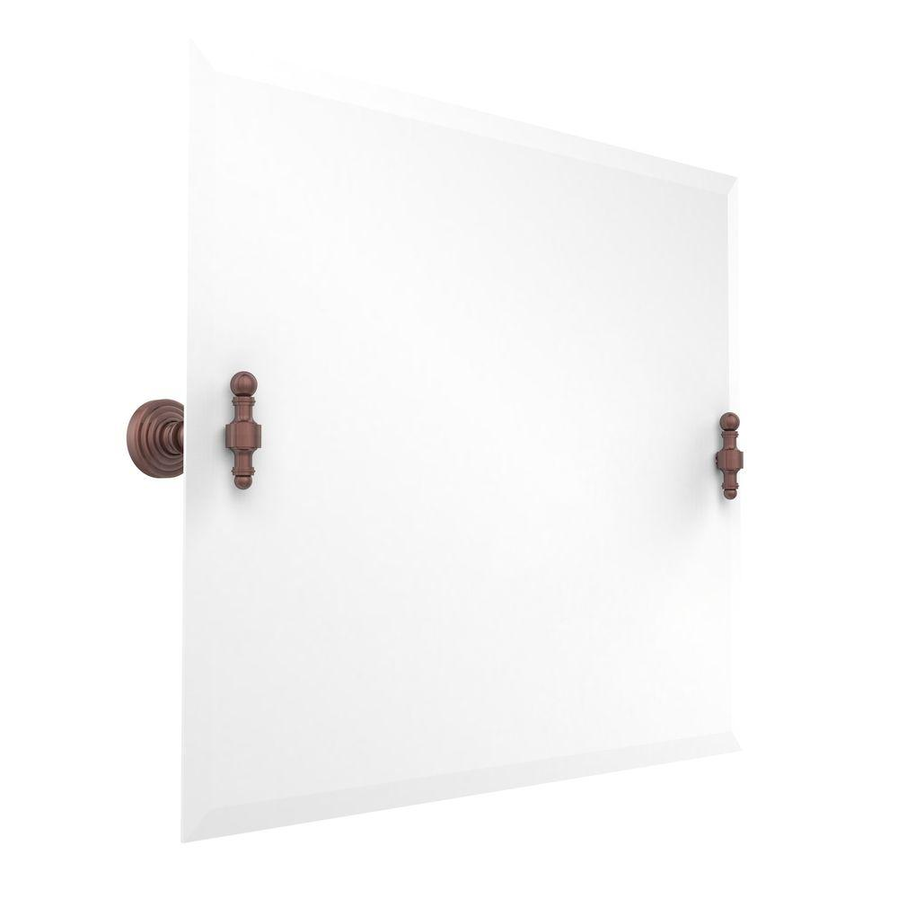 Allied Brass Retro-Wave Collection 26 in. x 21 in. Rectangular Landscape Single Tilt Mirror with Beveled Edge in Antique Copper