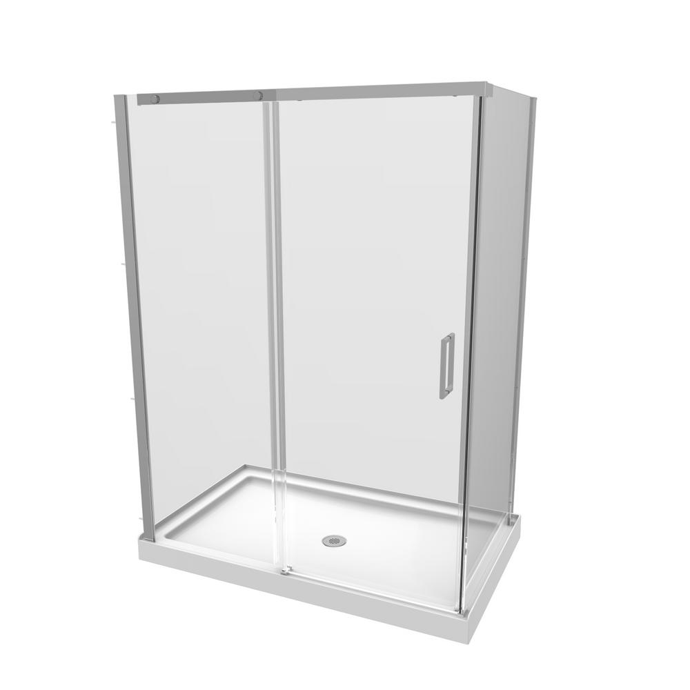 Renwil 32 in. x 48 in. x 77 in. 3-Piece Shower Stall in Chrome ...