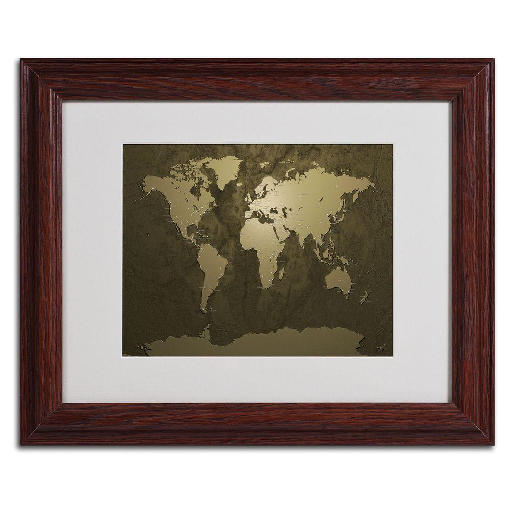 11 in. x 14 in. Gold World Map Matted Framed Art