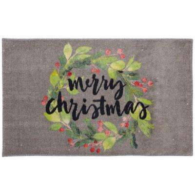 Christmas Wreath Gray 2 ft. 6 in. x 4 ft. 2 in. Area Rug