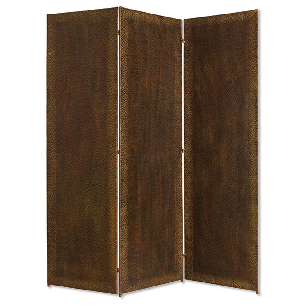 Forger 6 ft. Brown 3-Panel Room Divider