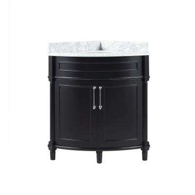 Aberdeen 32 in. W x 23 in. D Corner Vanity in Black with Carrara Marble Top with White Basin