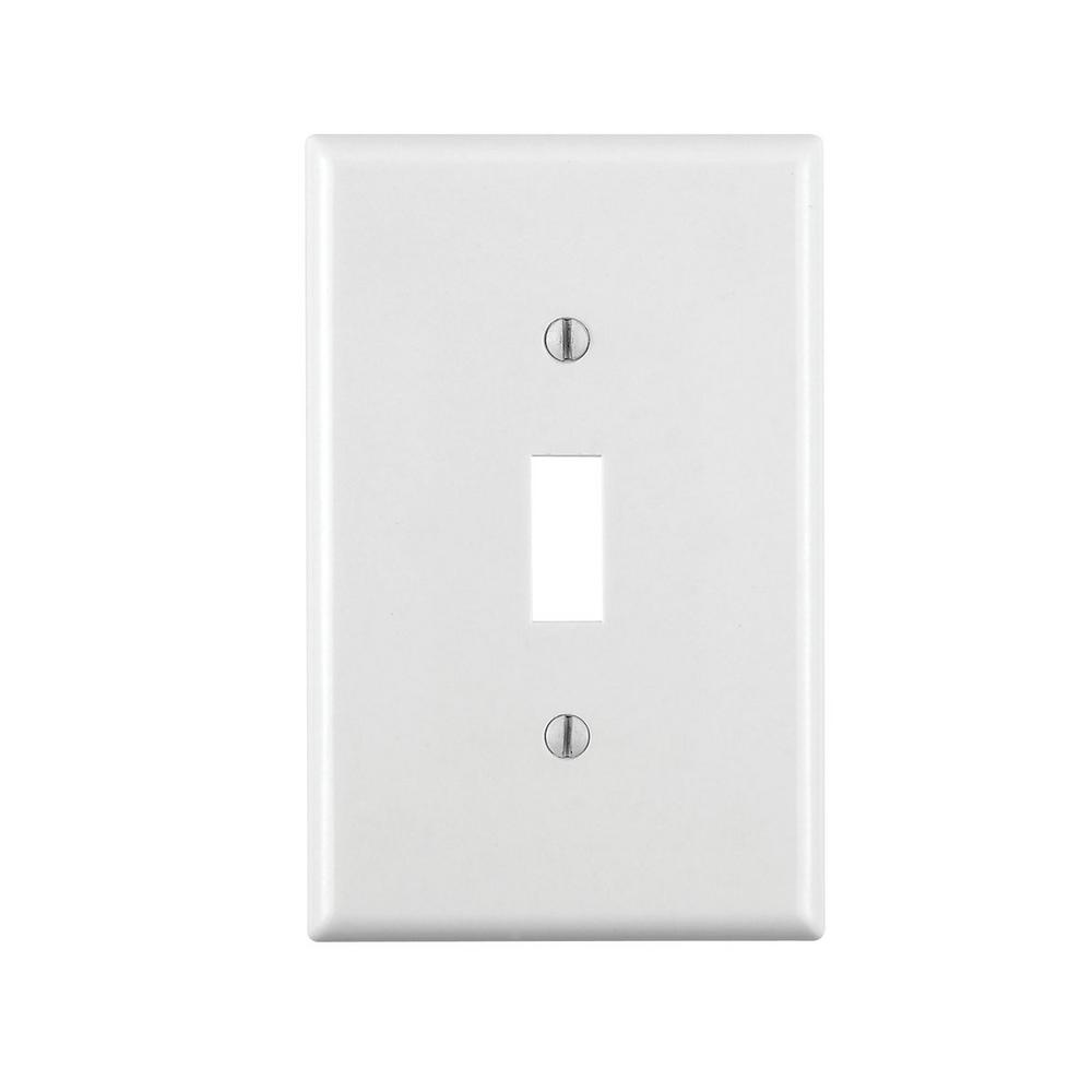 1-Gang Toggle Midsize Switch Wall Plate, White
