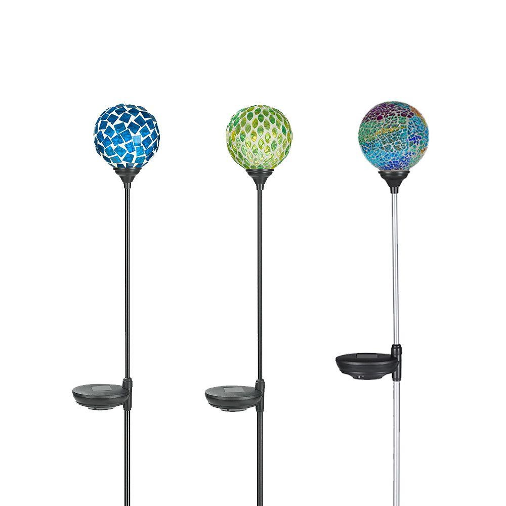 solar powered led mosaic glass globe garden stake set 3 pack patio yards 840623100196 ebay. Black Bedroom Furniture Sets. Home Design Ideas