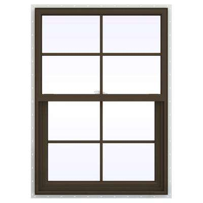 29.5 in. x 41.5 in. V-2500 Series Single Hung Vinyl Window with Grids - Brown