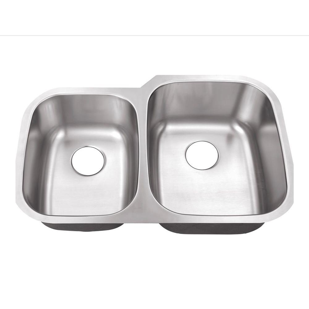Belle Foret Undermount Stainless Steel 32 In 0 Hole 40 60 Double Bowl