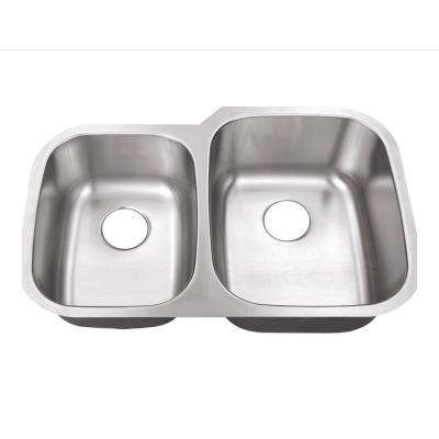 Undermount Stainless Steel 32 in. 0-Hole 40/60 Double Bowl Kitchen Sink