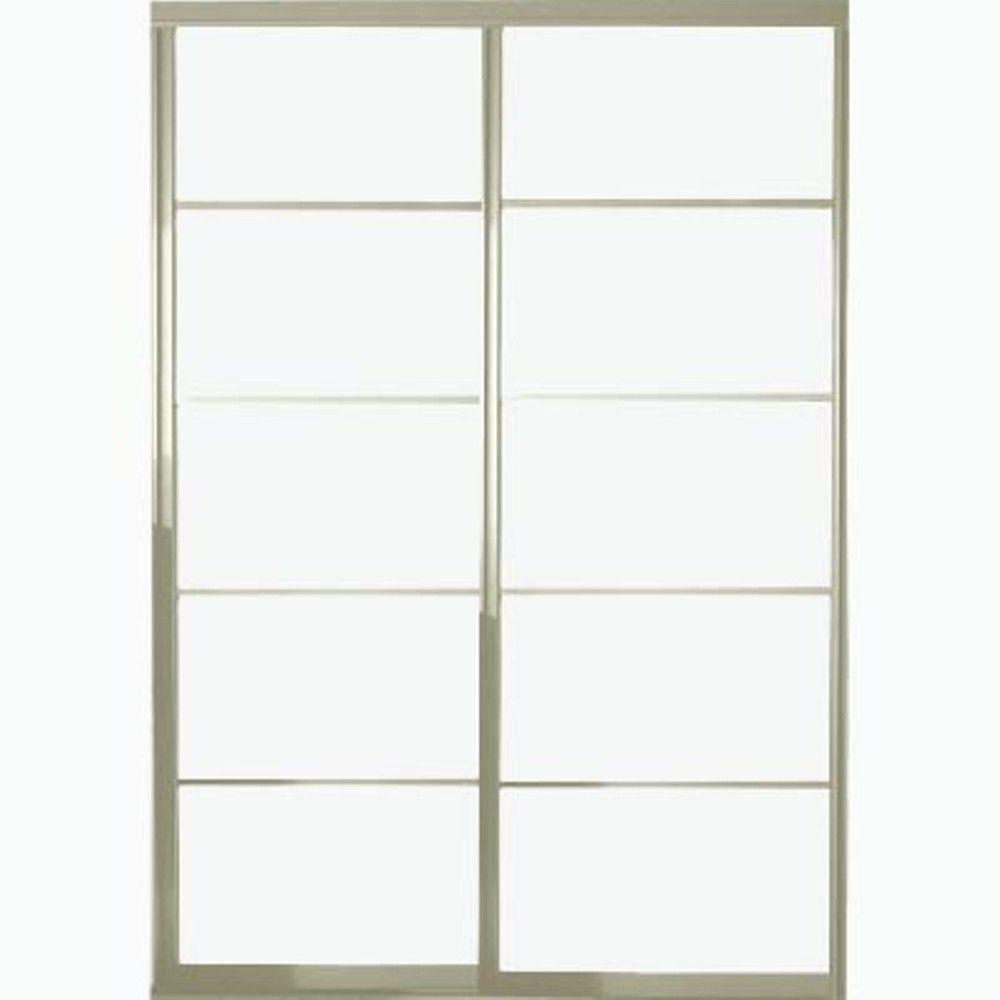 Contractors Wardrobe 84 in. x 96 in. Silhouette 5-Lite Aluminum Brushed Nickel Interior Bypass Sliding Door