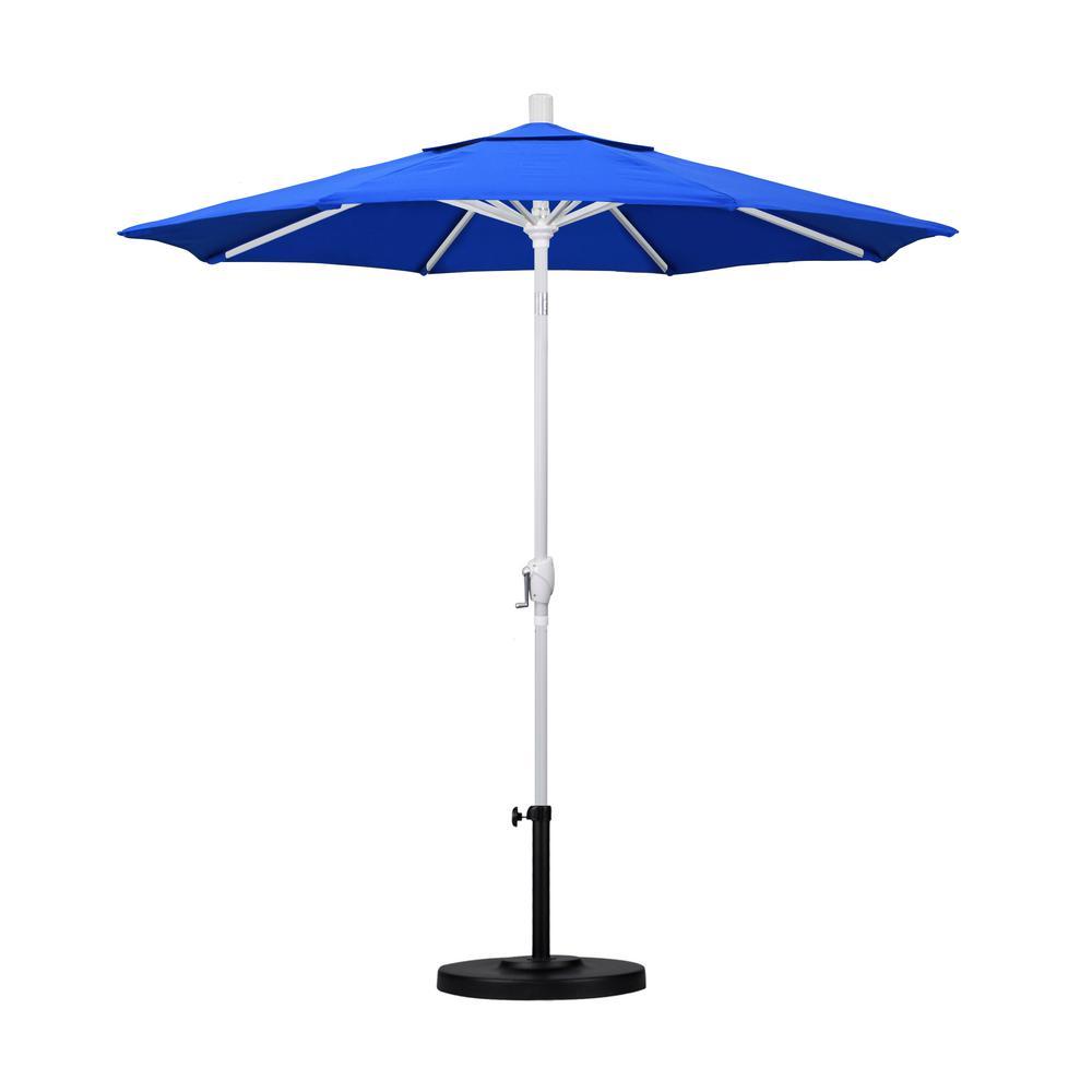 California Umbrella 7.5 ft. White Aluminum Pole Market Aluminum Ribs Push Tilt Crank Lift Patio Umbrella in Pacific Blue Sunbrella