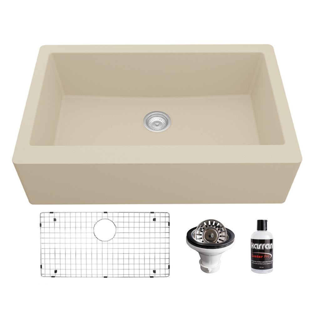 Quartz Composite 34 in. Single Bowl Farmhouse/Apron-Front Kitchen Sink Kit in Bisque