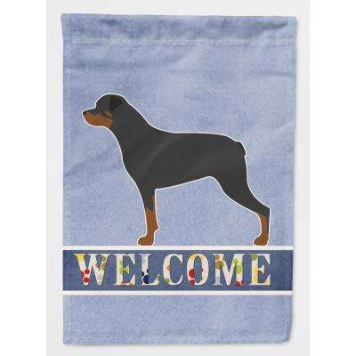 11 in. x 15-1/2 in. Polyester Rottweiler Welcome 2-Sided 2-Ply Garden Flag
