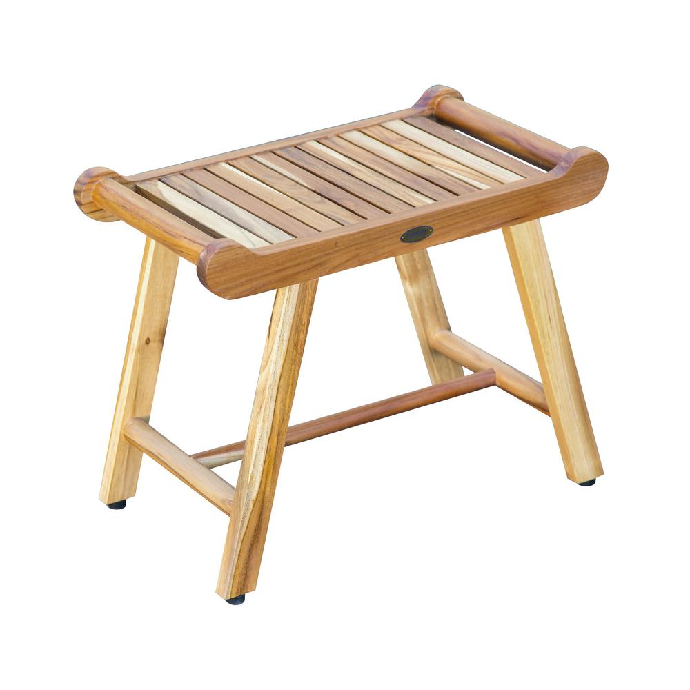 EcoDecors SensiHarmony 24 in. W Teak Shower Stool Bench with LiftAide Arms in Natural Teak