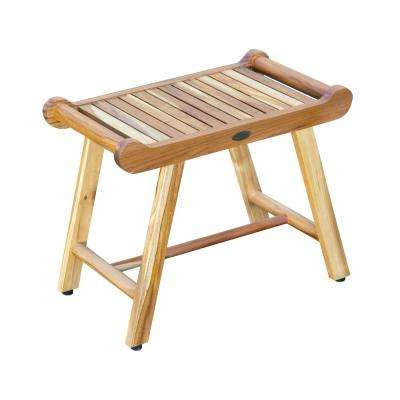 SensiHarmony 24 in. W Teak Shower Stool Bench with LiftAide Arms in Natural Teak