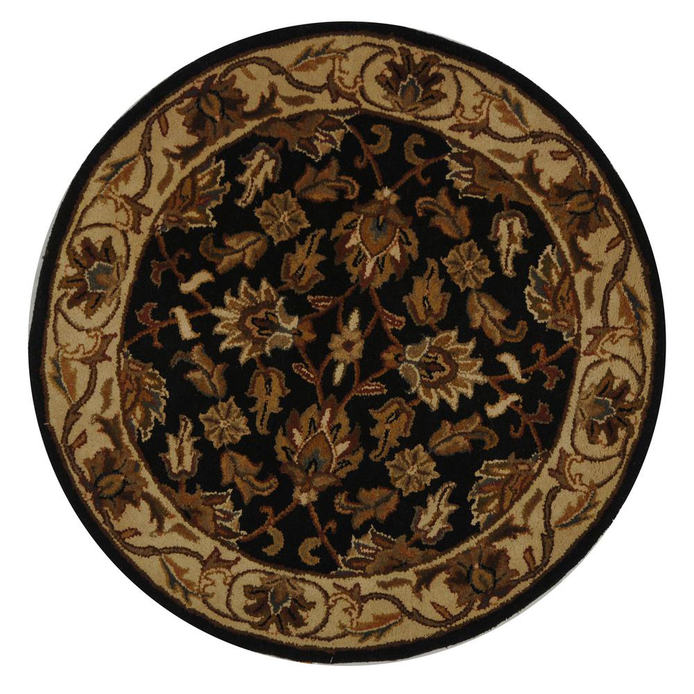 safavieh heritage dark green gold 4 ft x 4 ft round area rug hg628a 4r the home depot. Black Bedroom Furniture Sets. Home Design Ideas
