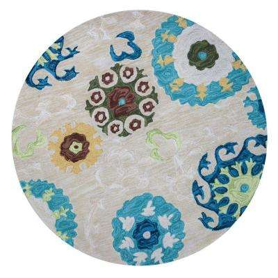 Touch of Mosaic Ivory/Blue 5 ft. 6 in. x 5 ft. 6 in. Round Area Rug