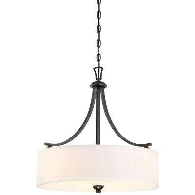 Shadowglen 3-Light Lathan Bronze Drum Pendant