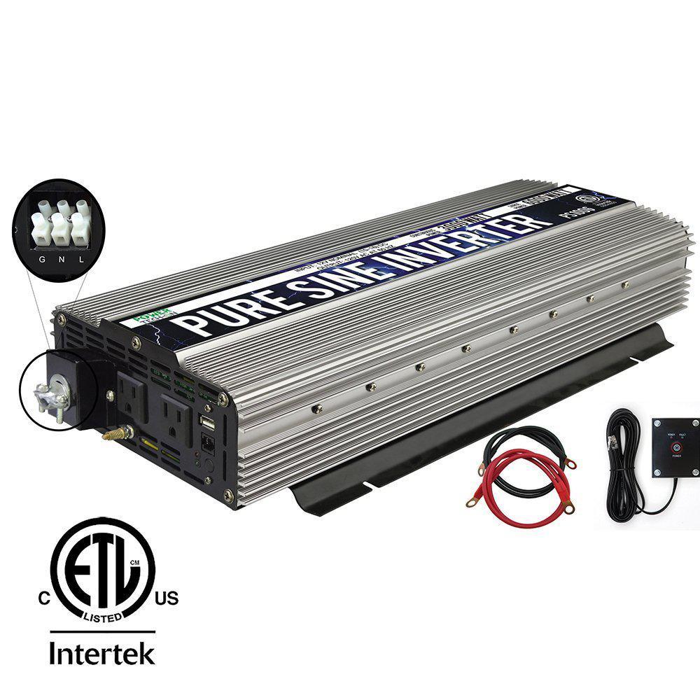 3,000-Watt Continuous/6,000-Watt Peak Pure Sine Wave Inverter with AC Hardwire Terminal Block