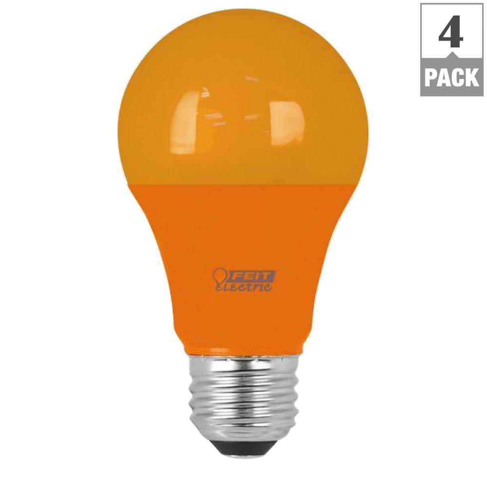 feit electric 40w equivalent orange colored a19 led light bulb case of 4 a19 o 10kled 4 the. Black Bedroom Furniture Sets. Home Design Ideas