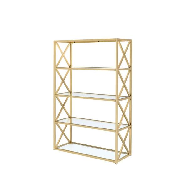Milavera ETagere Clear Glass and Gold Bookcase
