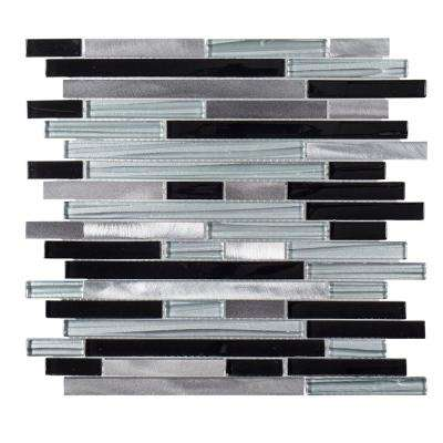 Binary Code 11.625 in. x 11.75 in. x 6mm Glass/Stone/Metal Mosaic Tile