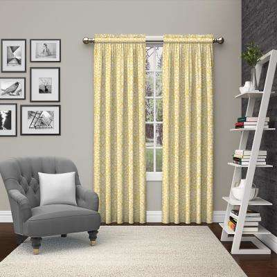 Light Filtering 63 in. L Polyester/Cotton Rod Pocket Curtain in Yellow