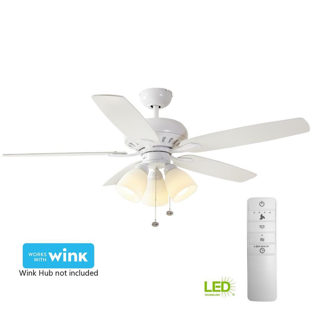 hampton bay rockport 52 in led matte white ceiling fan light led indoor matte white smart ceiling fan light kit and wink