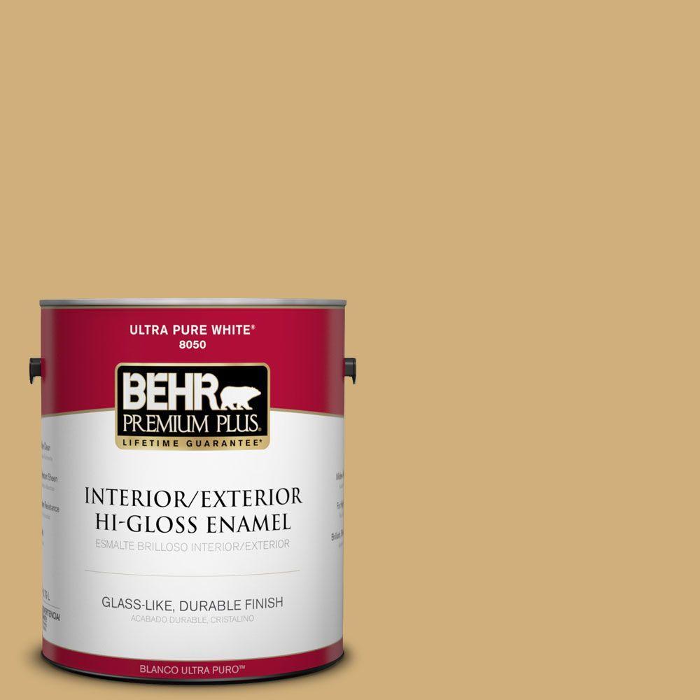 BEHR Premium Plus 1-gal. #340F-5 Beachwalk Hi-Gloss Enamel Interior/Exterior Paint