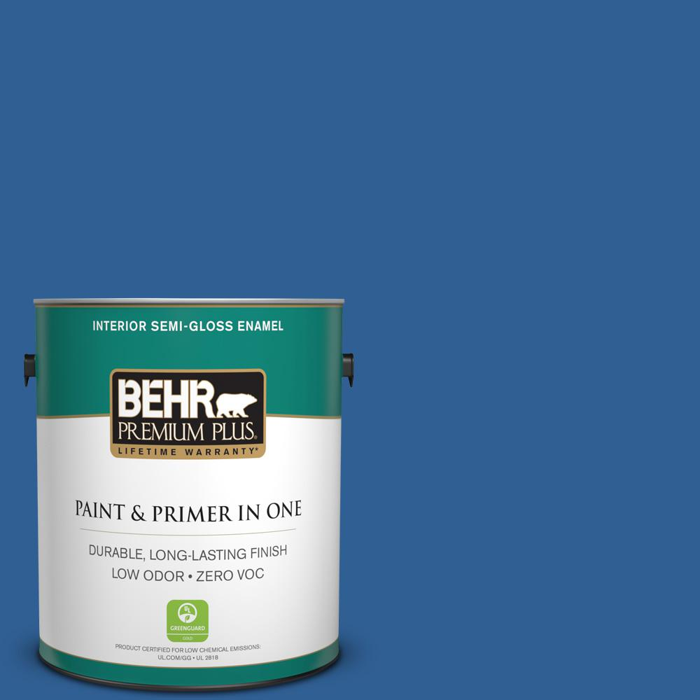 BEHR Premium Plus 1-gal. #S-G-580 Running Water Zero VOC Semi-Gloss Enamel Interior Paint