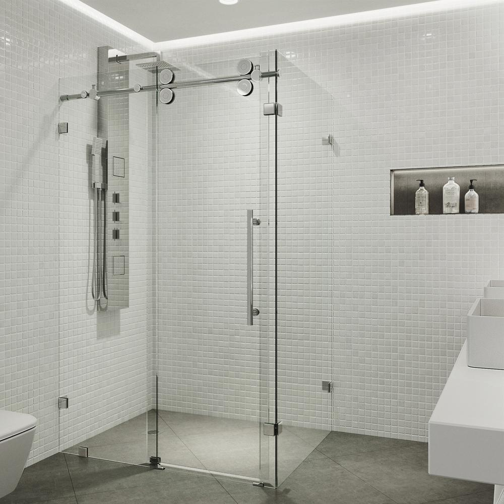 Frameless corner bypass shower enclosure in chrome