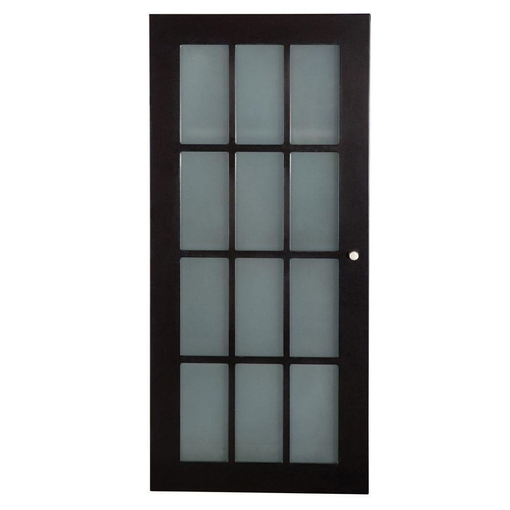 Zen Home Espresso Bathroom Wall Cabinet Storage 3 Shelves Frosted ...