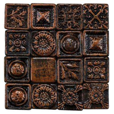 Baroque Square Copper 1 in. x 1 in. Metallic Resin Wall Medallion Tile (16-Pack )