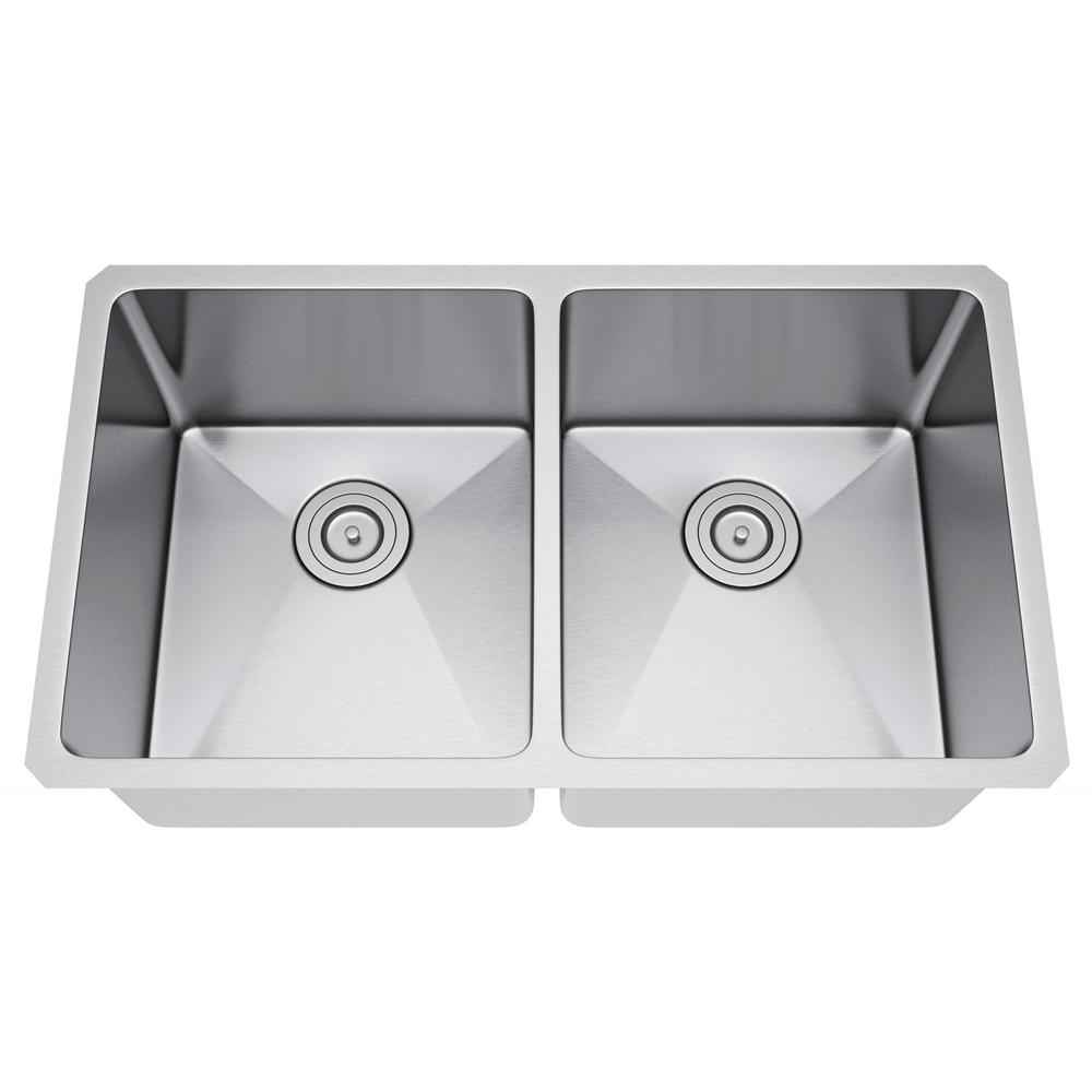 All-in-One Undermount Stainless Steel 31 in. 50/50 Double Bowl ... on stainless steel trough sinks, copper kitchen sinks, stainless steel undermount double sink, farmhouse kitchen sinks, integrated kitchen sinks, stainless steel work sinks, stainless steel sink grids, franke kitchen sinks, discontinued kitchen sinks, stainless steel single undermount sink, stainless steel sink protector, stainless steel drop in kitchen sinks, elegant kitchen sinks, american standard kitchen sinks, stainless steel deep sink, low divide kitchen sinks, stainless steel sink with drainboard, stainless steel sinks product, kraus kitchen sinks, undermount bathroom sinks,