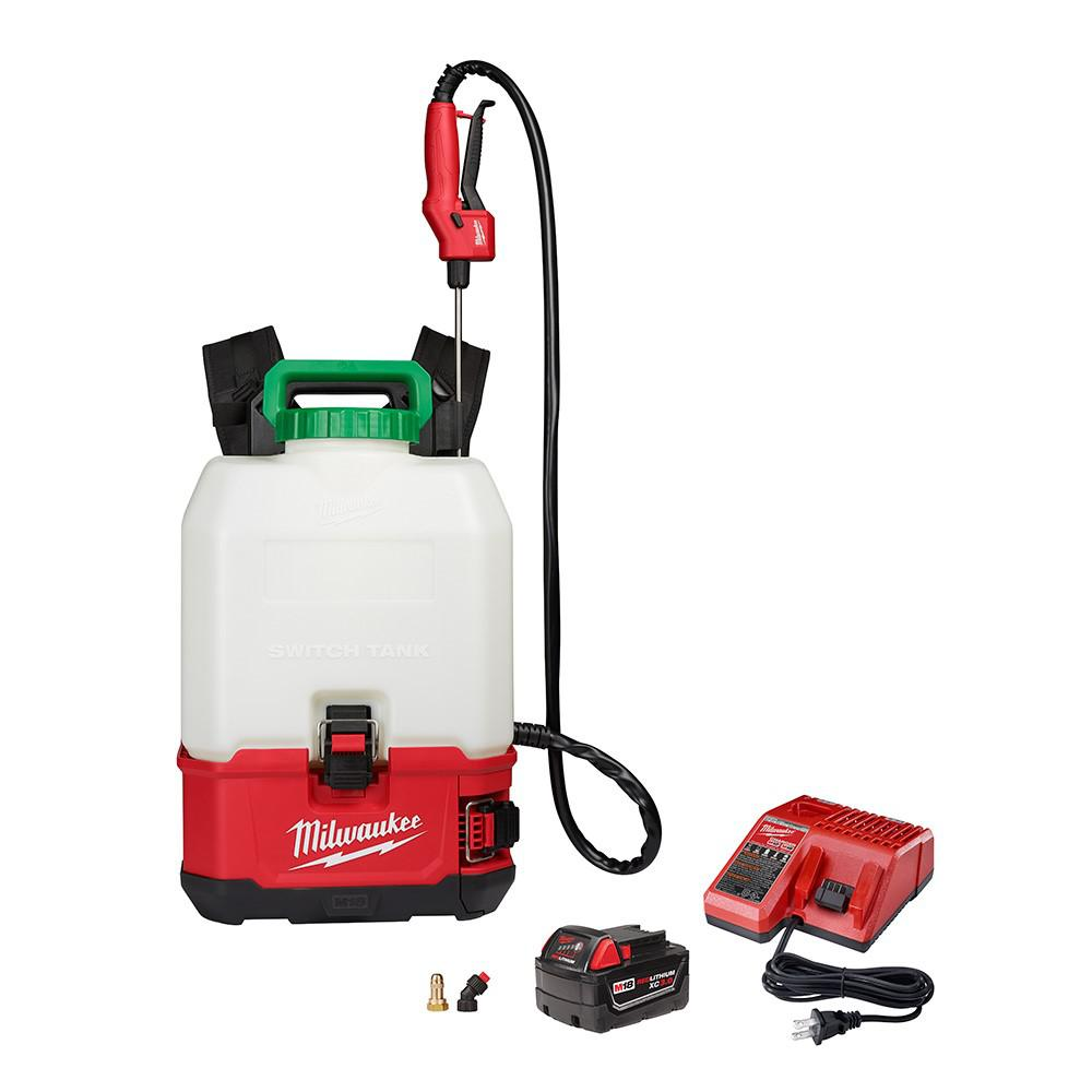 Milwaukee M18 18-Volt 4 Gal. Lithium-Ion Cordless Switch Tank Backpack Pesticide Sprayer Kit with 3.0 Ah Battery and Charger