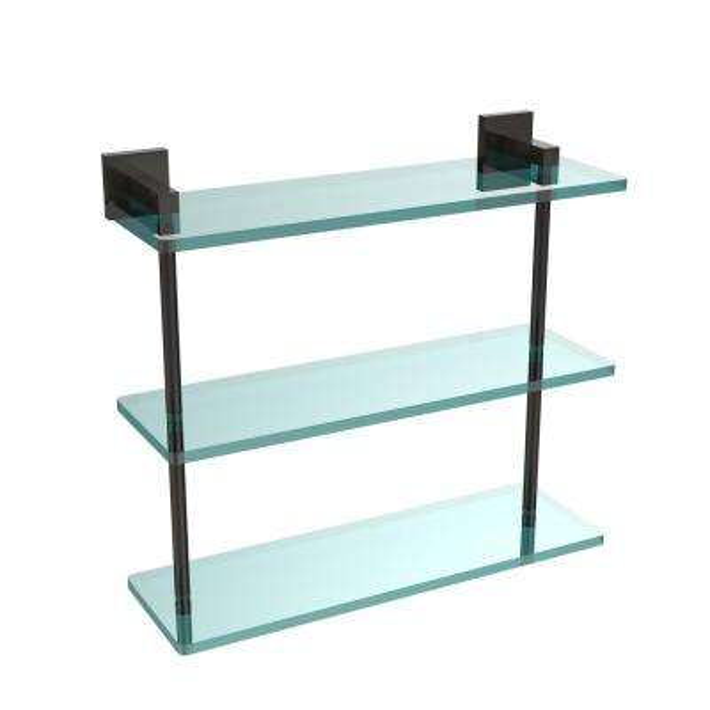 Montero 16 in. L  x 15 in. H  x 6-1/4 in. W 3-Tier Clear Glass Bathroom Shelf in Oil Rubbed Bronze