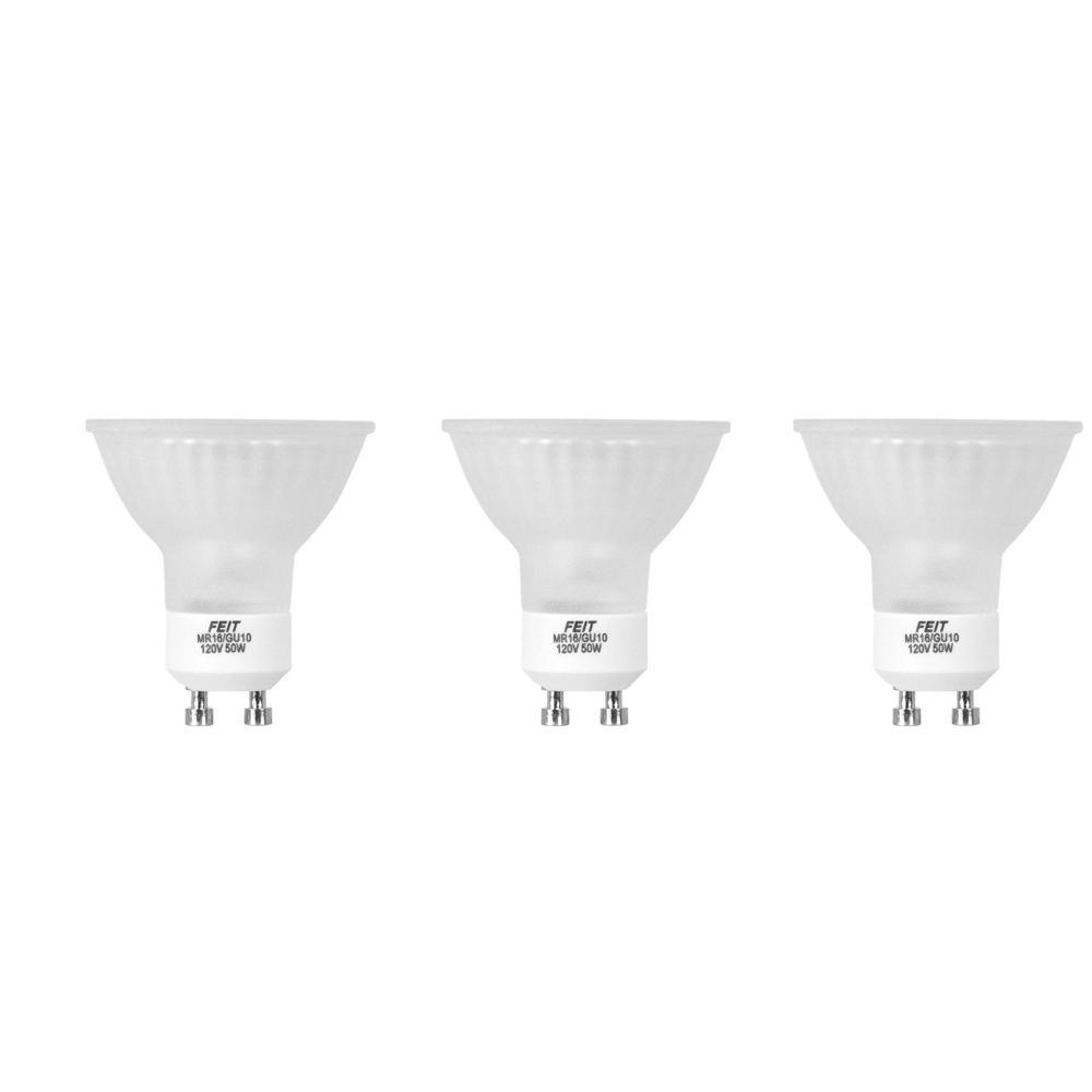 Feit Electric 50-Watt Halogen MR16 Frost GU10 Base Light Bulb (3 ...
