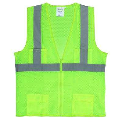 Large Lime Green High Visibility Class 2 Reflective Safety Vest