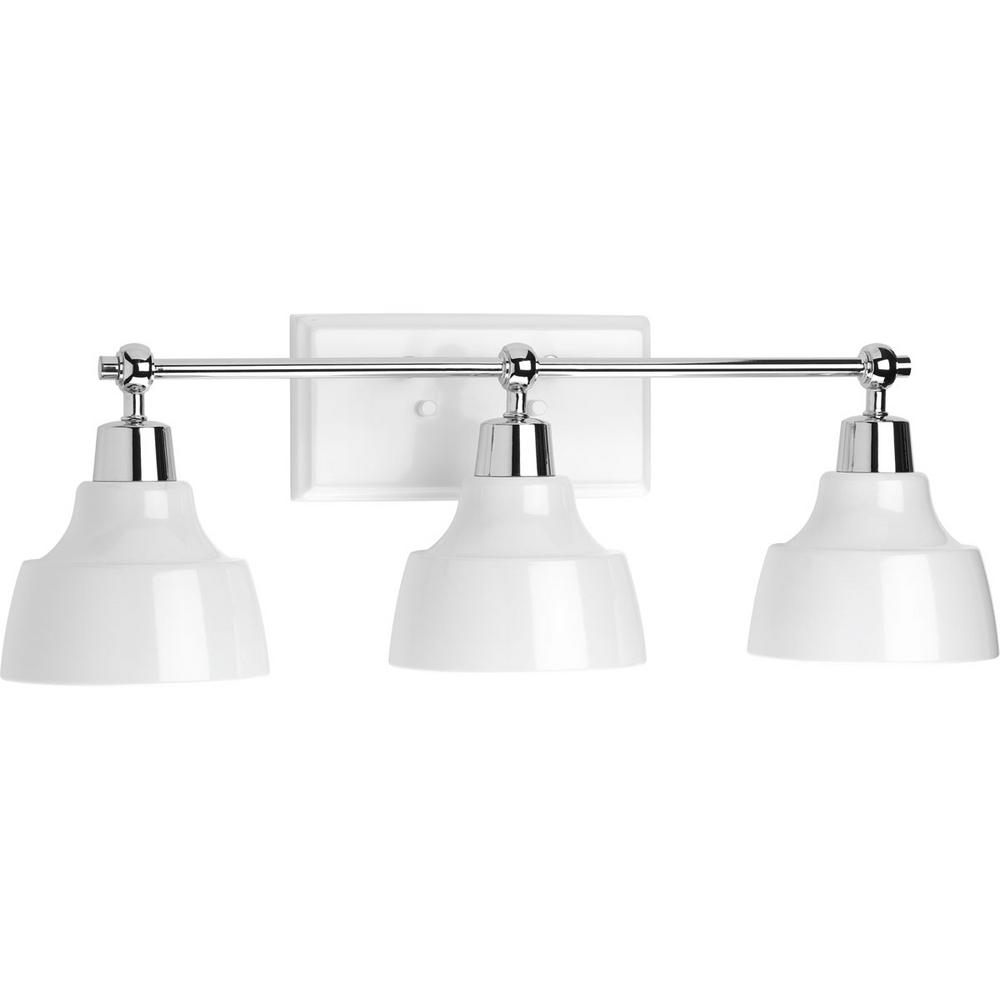 Bramlett Collection 3-Light Polished Chrome Vanity Light with White Shades