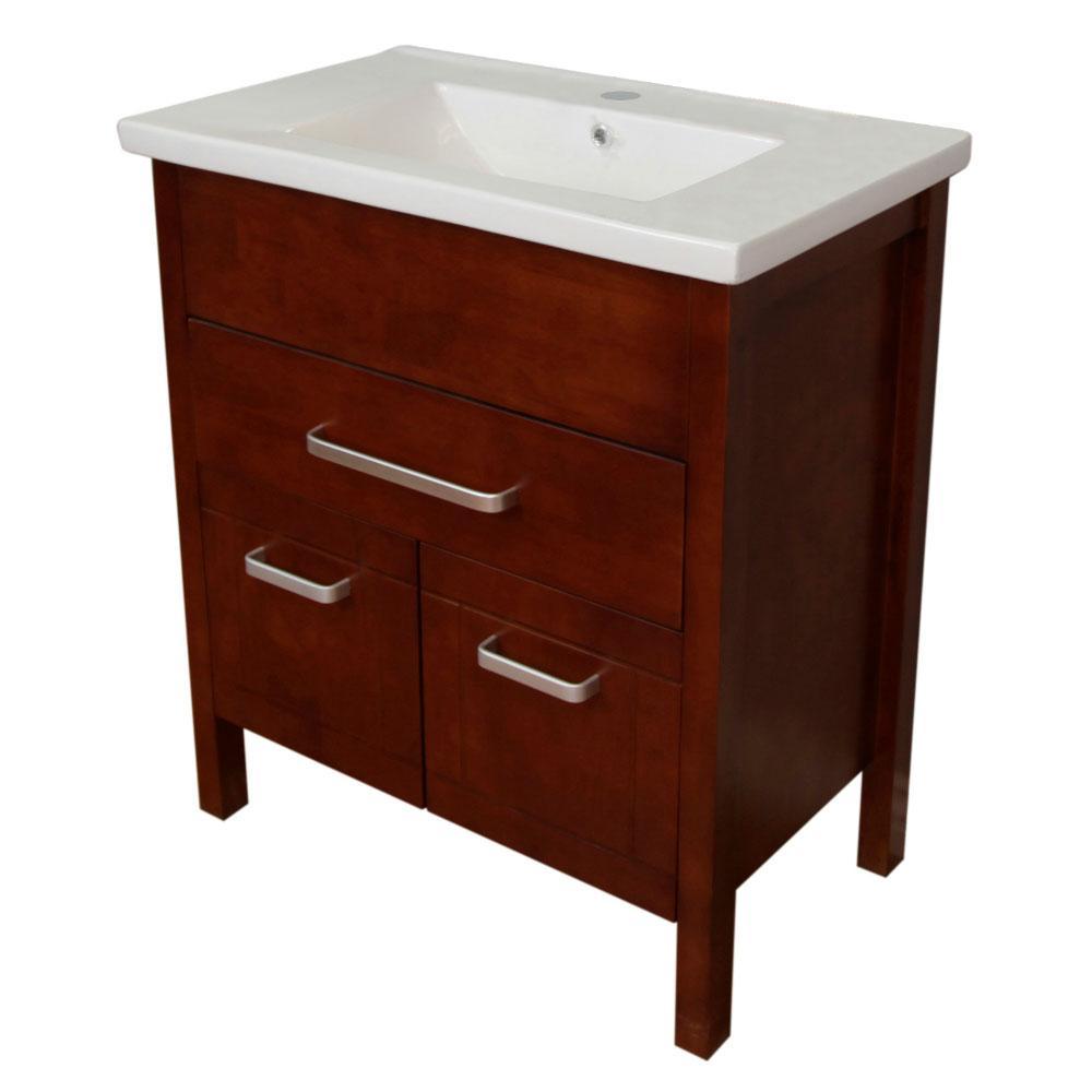 Morgan 30 in. W x 21 in. D x 36 in. H Single Vanity in Walnut with Ceramic Vanity Top in White with White Basin
