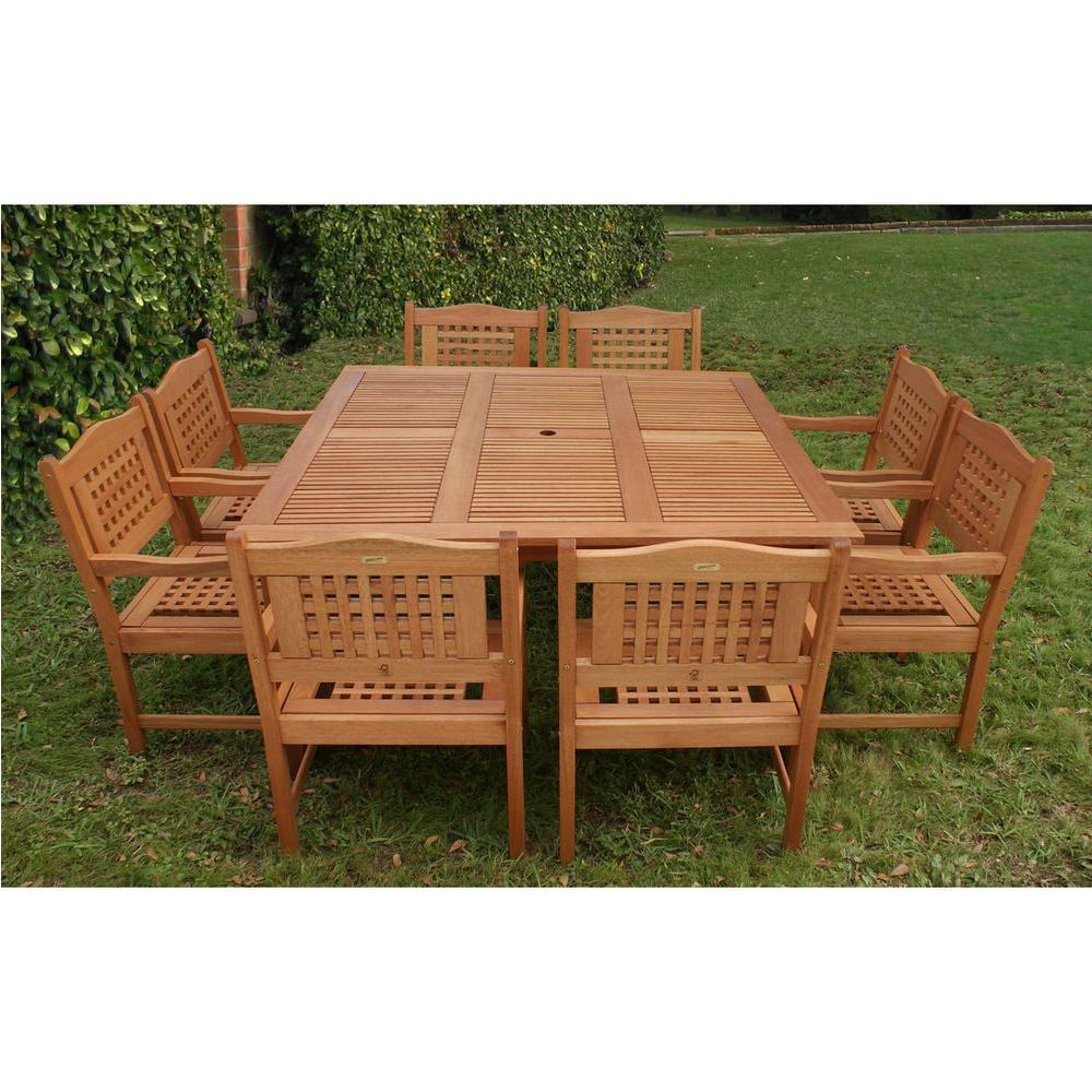 Milano Porto 9 Piece Eucalyptus Wood Square Patio Dining Set
