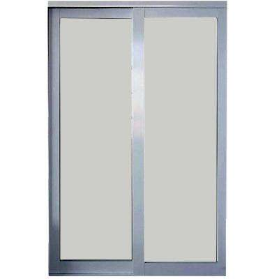 Eclipse Mystique Glass Satin Clear Finish Aluminum Interior Sliding Door