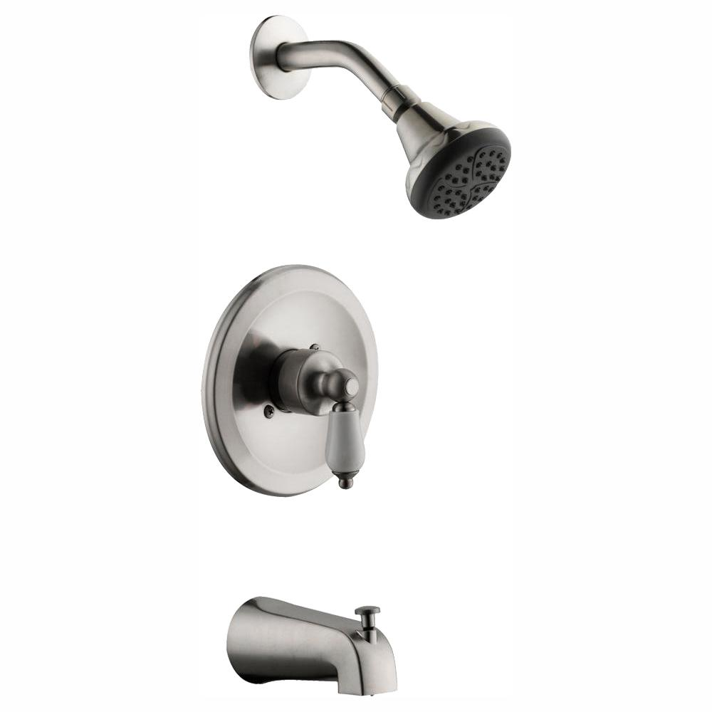 Glacier Bay Teapot Single-Handle Tub and Shower Faucet in Brushed Nickel (Valve Included)