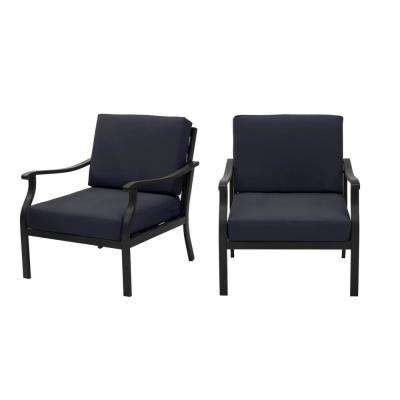 Riley Black Steel Outdoor Patio Lounge Chair with CushionGuard Midnight Navy Blue Cushions (2-Pack)