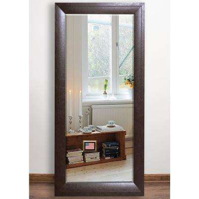 32.25 in. x 65.75 in. Espresso Leather Beveled Full Body Mirror
