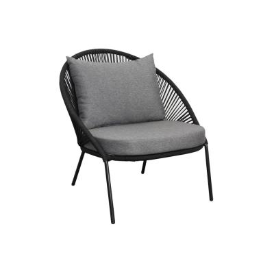 Trikala Stackable Armless Wicker Outdoor Lounge Chair with Gray Cushions