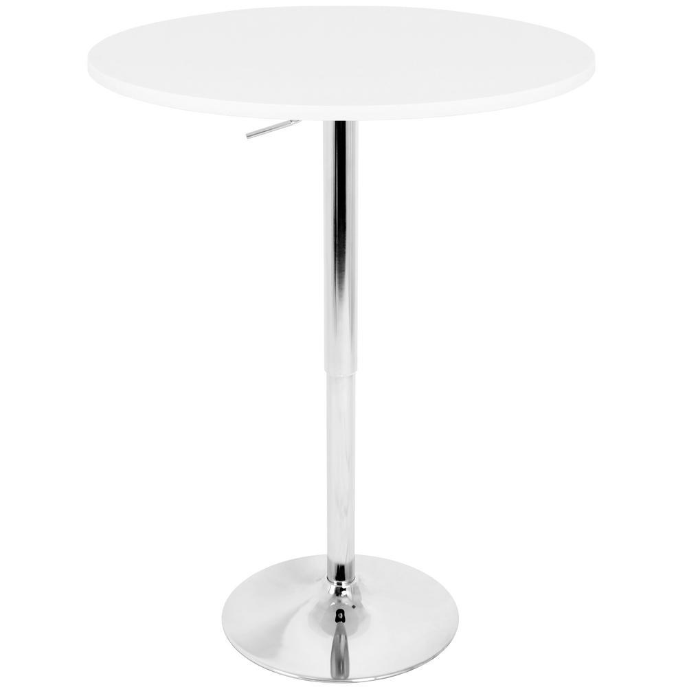 Elia White and Chrome Adjustable Bar Table