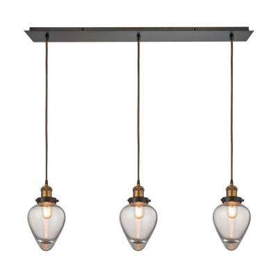 Bartram 3-Light Oil Rubbed Bronze and Antique Brass Pendant