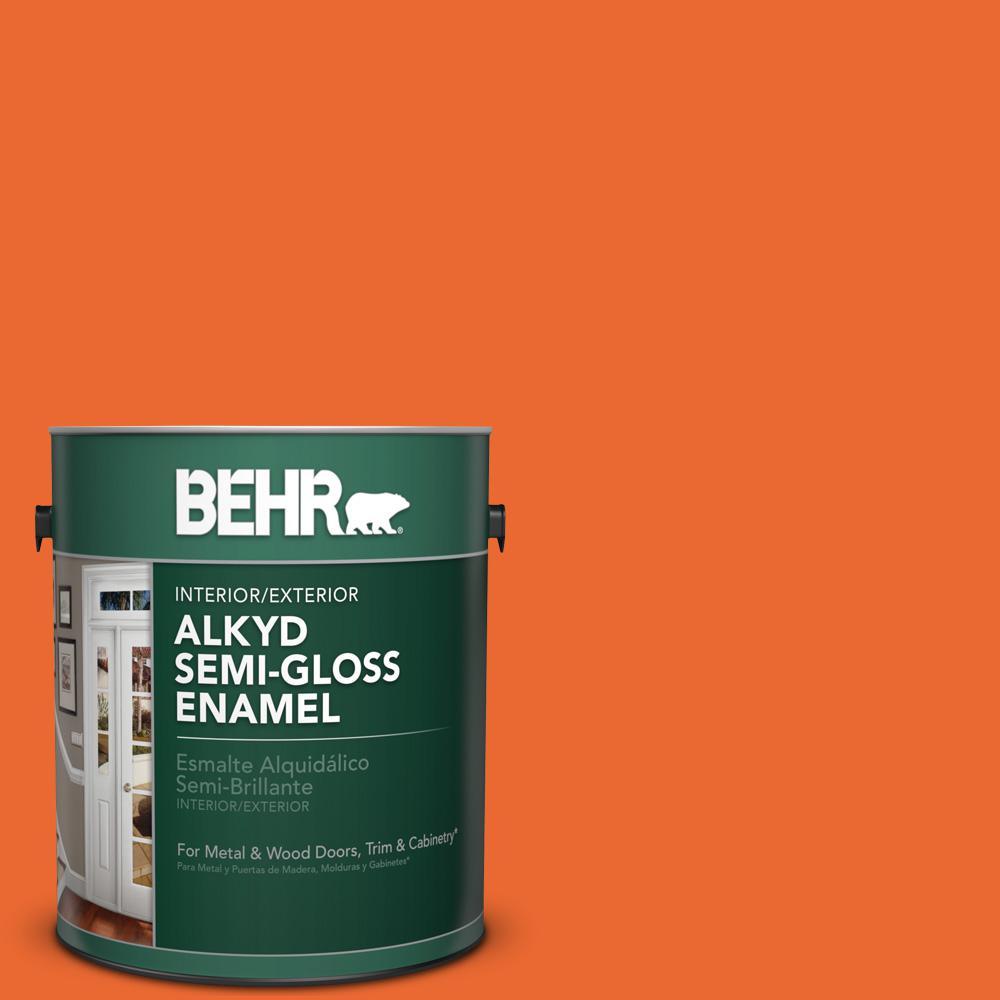 1 gal. #220B-7 Electric Orange Semi-Gloss Enamel Alkyd Interior/Exterior Paint