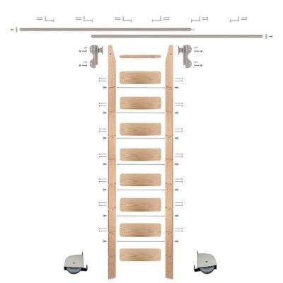9 ft. Red Oak Ladder (10 ft. Reach) Satin Nickel Contemporary Rolling Hook Hardware 12 ft. Rail and Horizontal Brackets